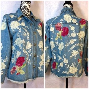 Chico's Denim Lace & Roses Jacket